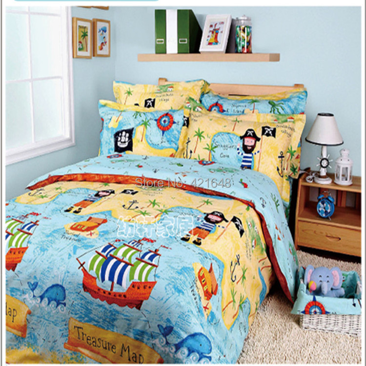 Free Shipping 100 Cotton Cartoon Pirates Of The Caribbean Bedding Set Fashion 3 4pcs Bed Set