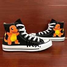 Pokemon Charmander Anime High Top Painted Shoes Men Women Unique Birthday Gifts Hand Painted Canvas Sneakers Art Wen