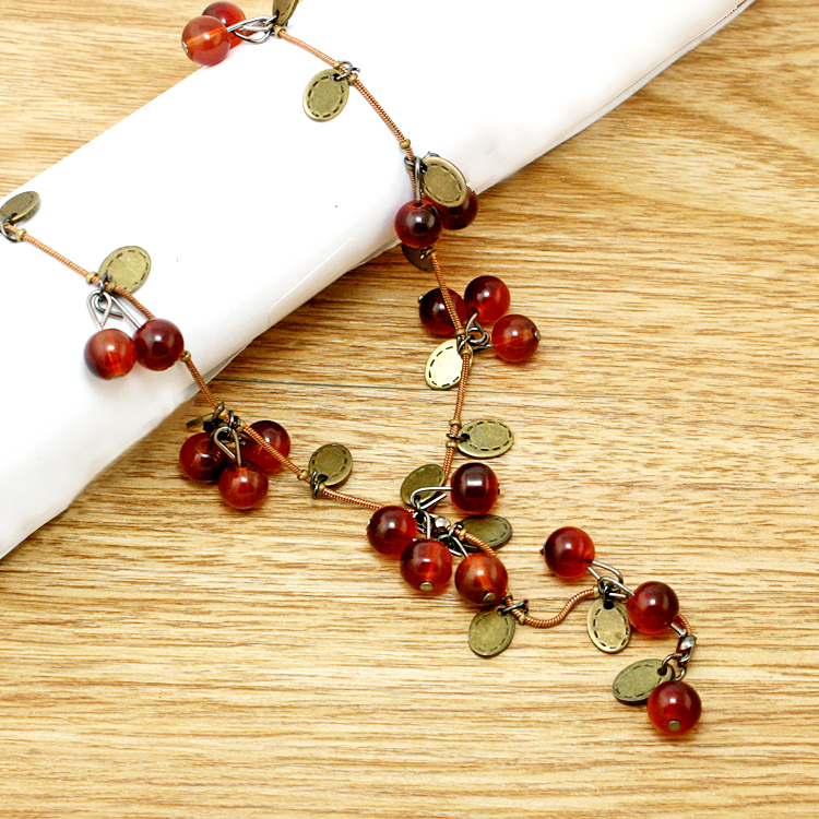 2015 New Fashion Women Necklace - Beautiful Red cherries Necklace Pendant Jewelry For women JXB299(China (Mainland))