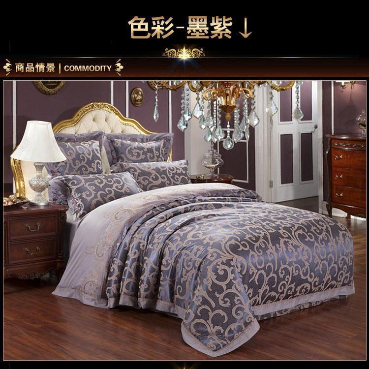 Luxury dark purple satin jacquard bedding comforter set for Bride kitchen queen set
