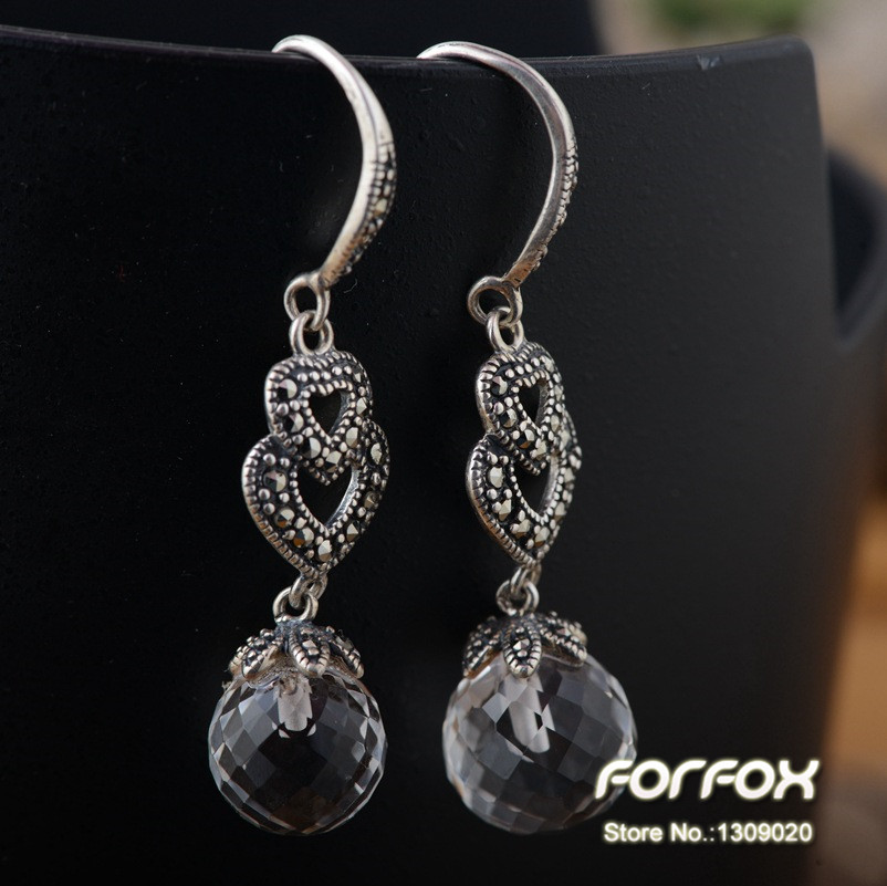 Retro Vintage 925 Sterling Silver Double Hearts Earrings with White Crystal Balls for Women Girls Free Shipping<br><br>Aliexpress