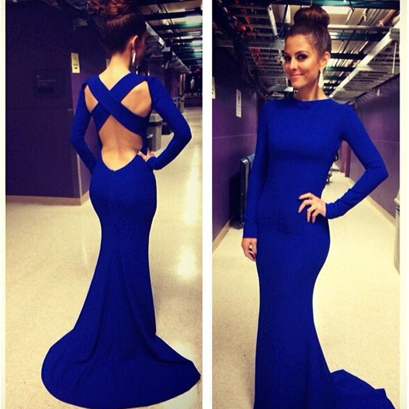 vestido escote espalda manga larga