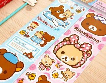 120PCS Whoelsale Kawaii Rilakkuma Bear Sticker; Notebook, Travel Bag etc. Decoration Sticker Paster  Poster  Size 310*95MM