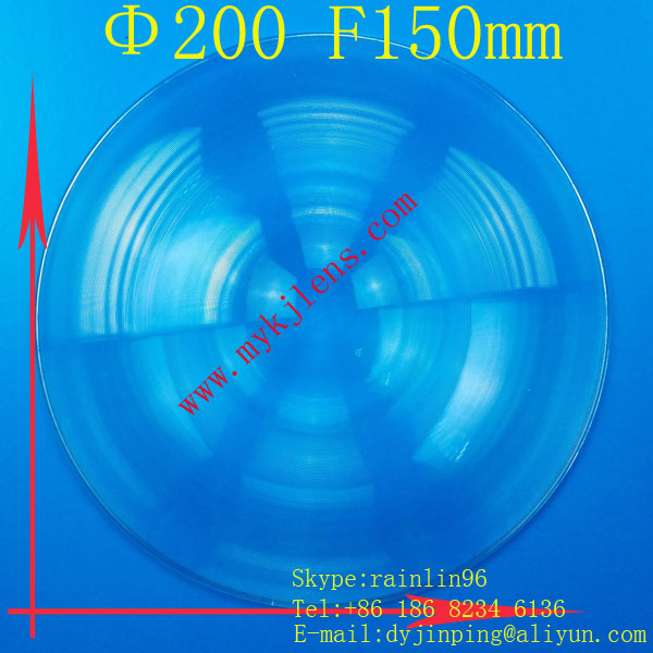 PMMA acrylic stage lights LED light  Fresnel lens Diameter 200mm focal length 150mm free shipping