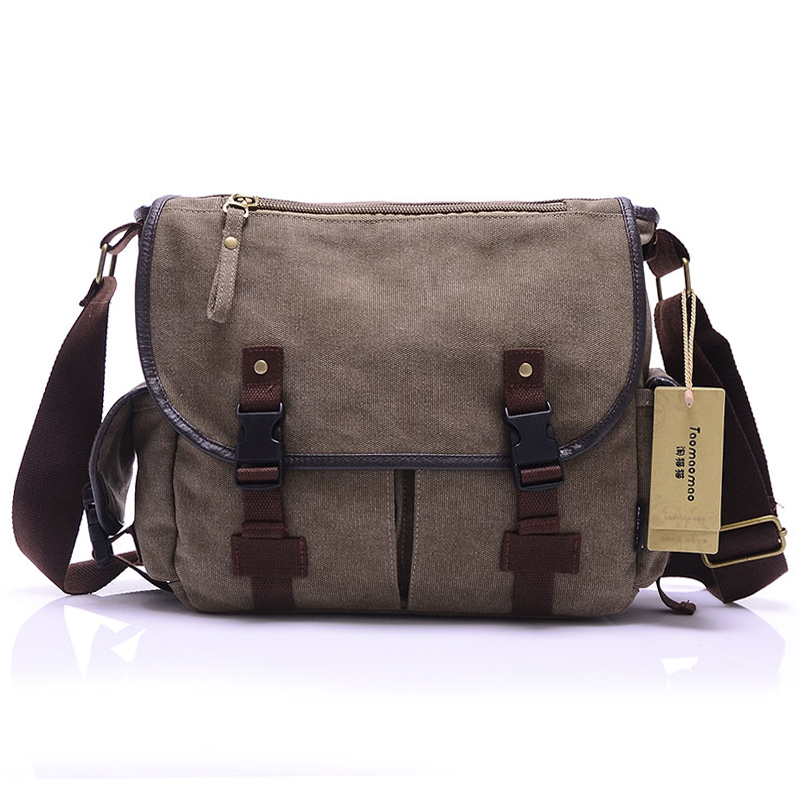 HOT! High Quality Canvas Bag Men's solid cover zipper casual shoulder school bags men crossbody bag Men Messenger Bags(China (Mainland))