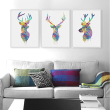 Triptych Watercolor Deer Head A4 Poster Print Abstract Animal Pictures Canvas Painting No Frames Living Room Home Decor Wall Art(China (Mainland))