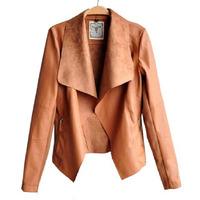 Moda lunga pu custodia in pelle 2015 faux turn-down collor giacche di pelle delle donne cappotti sottili plus size feminino s-4xl 59CNS