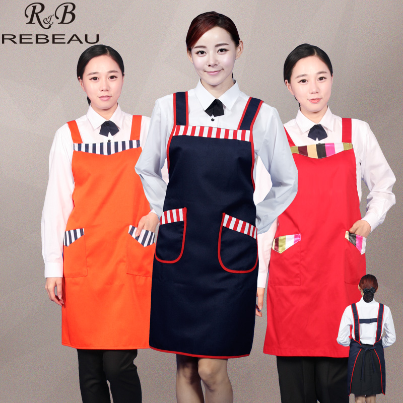 (5pcs/lot)Han edition fashion household kitchen apron female hotel waiter apron uniform custom embroidery logo printing(China (Mainland))