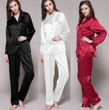 Womens Silk Satin Pajamas Set Pajama Pyjamas Set Sleepwear Loungewear S,M, L, XL, 2XL, 3XL Plus Solid__Fit All Seasons(China (Mainland))