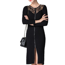 Women Winter Sexy Knitted Dress 2016 New Fashion Free Size Lace Patchwork Hollow Out Long Sleeve Knee-Length Female Cardigan 099(China (Mainland))