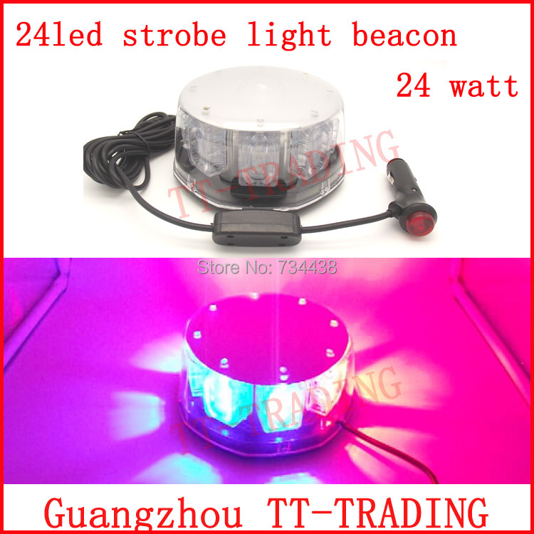 24 led Police strobe lights super bright vehicle flash lamp car Emergency led strobe beacon with magnet RED BLUE AMBER WHITE