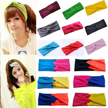 Hot Sale 2015 Fashion Stretch Patchwork Cotton Sports Yoga Wide Girls Elastic Hairbands Headbands for Women Turban Headwear Gift(China (Mainland))