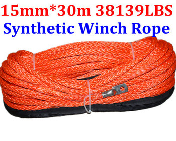 Free Shipping 15MM 30M 12 Strand UHMWPE Synthetic 4X4/ATV Braid Winch Rope With Thimble