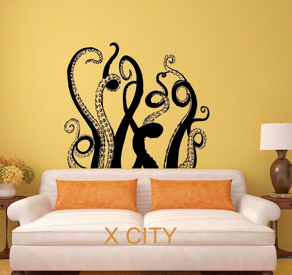 Home Art Decor Wall Decals ~ Octopus tentacles sea monster black wall art decal sticker