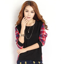 2015 fall and winter clothes large size women loose plaid stitching bottoming shirt long-sleeved t-shirt and long sections(China (Mainland))