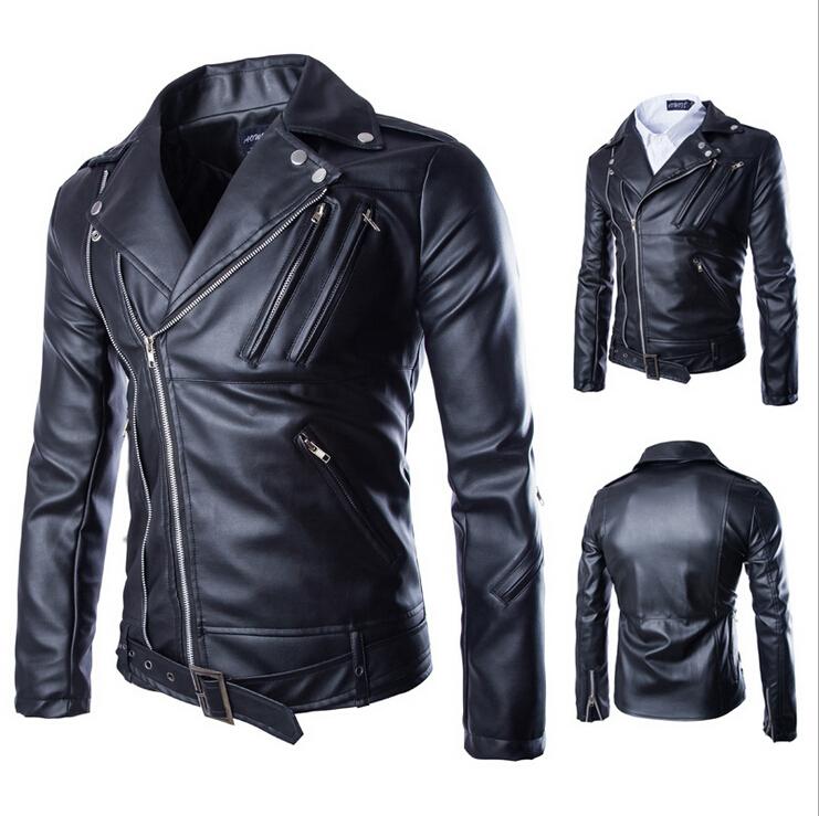 2015 New Brand Motorcycle Jacket Men Leather Coat Men Side Zip Jacket Male Faux Leather Jackets