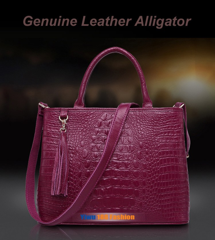 Leather Women Handbag Genuine Leather Women Tote Bag Tassel Shoulder
