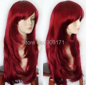 Long Straight Dark Red Cosplay Wig
