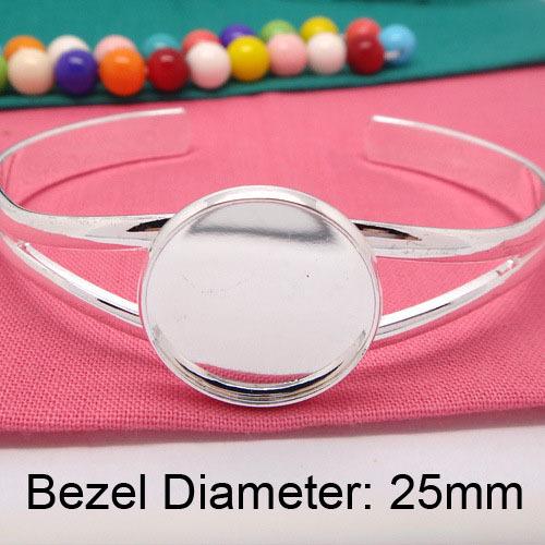 Silver plated Cuff Bracelet Blanks,Round Bezel Bracelet Trays,   Bracelet Blanks for Jewelry DIY Bracelet Trays