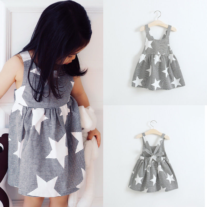 Fashion Summer Dress Infant Baby kids Girls Summer Beach Sundress Star Stripe Party Dress(China (Mainland))