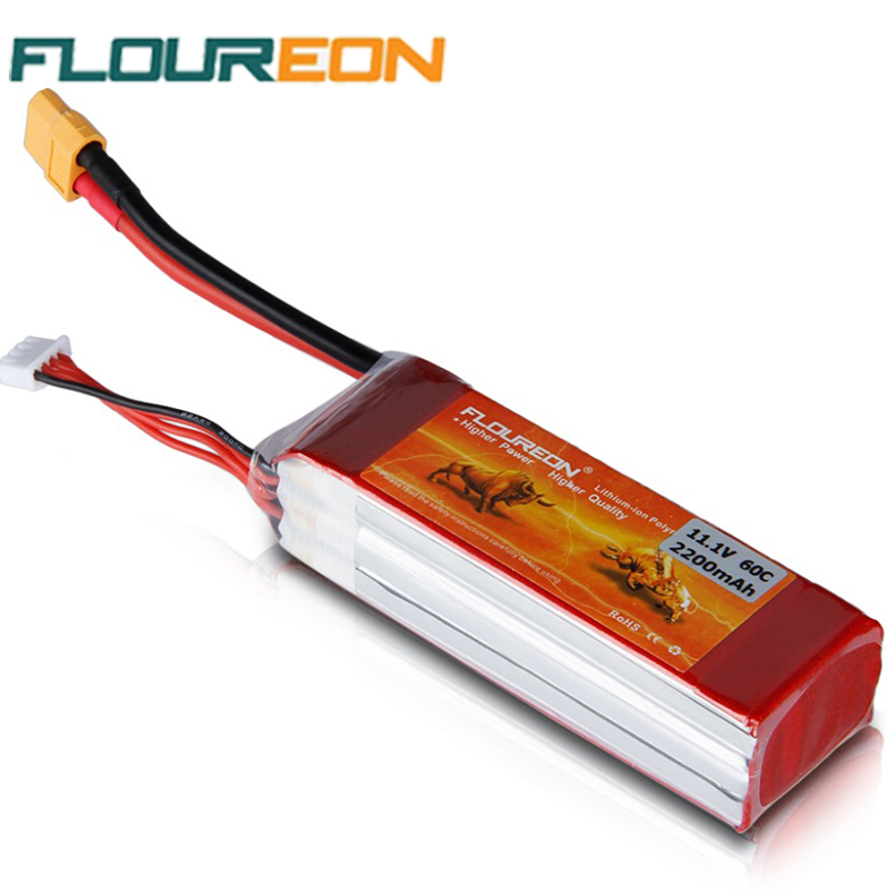 RC Lipo Battery FLOUREON 60C 3S 11.1V 2200mAh XT60 Plug Rechargeable Batteries RC Helicopter/Car/Airplane Hobby Bateria(China (Mainland))