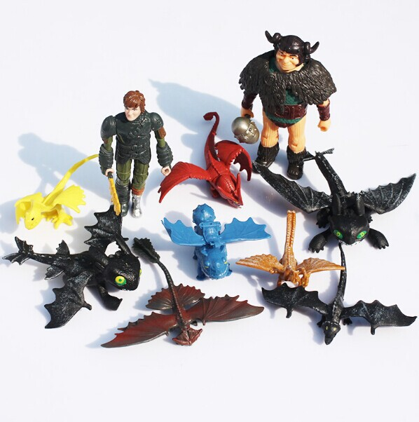 DHL 100sets 1set=10pcs Cartoon Movie How to train your dragon 2 Figure toys hiccup Snotlout Toothless PVC Toys<br><br>Aliexpress