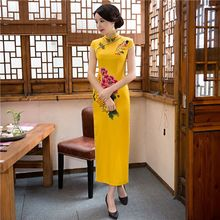 Buy Long Style Women's Satin Cheongsam Hot Sale Traditional Chinese Qipao Elegant Dress Mujere Vestido Size S M L XL XXL XXXL 275778 for $38.50 in AliExpress store