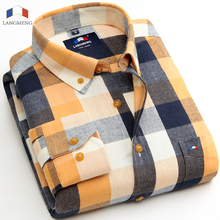 Buy Langmeng 2016 new fashion men cotton flannel shirts plaid casual shirt mens dress shirts brand long sleeve camisa masculina for $18.99 in AliExpress store