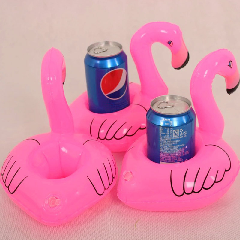 New Fanny Baby Inflatable Summer Toys Mini Lovely Red Flamingo Floating Inflatable Drink Can Holder Pool Beach Party Toy piscine(China (Mainland))