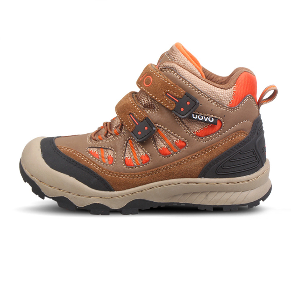 UOVO 2016 Children's Outdoor Waterproof Hiking Shoes Sport Footwear Wear-resistant High Top Fashion Casual Sneakers Size 31-36