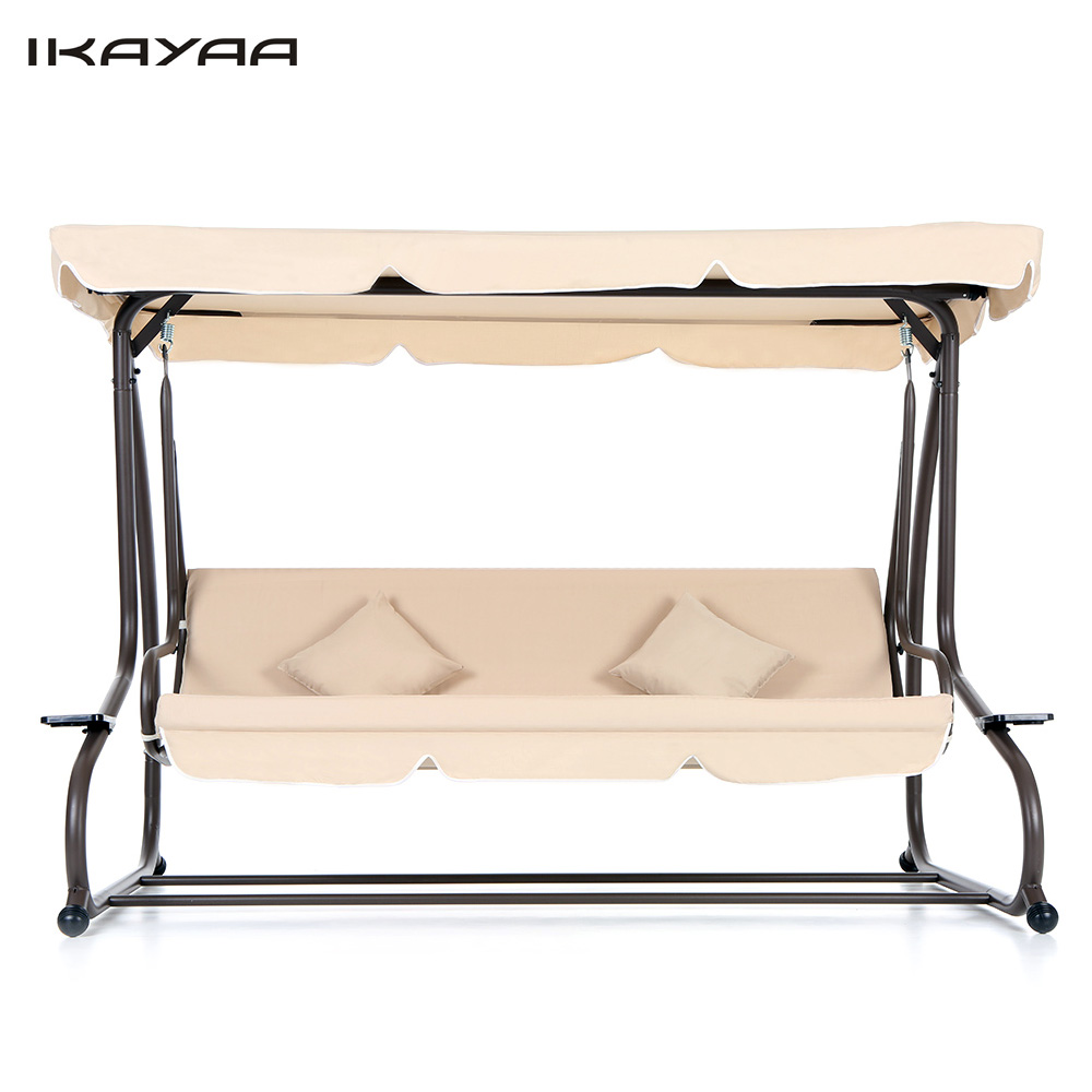 IKAYAA US Stock Garden Swing Chair Folding Bed Swinging Hammock Bench Swing Hanging Chairs + 2 Pillows TUV sallanan sandalye(China (Mainland))