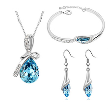 2015 New Free Shipping Crystal Jewelry Sets Pendants&Necklaces Stud Earring Bracelet Bangles Silver Chain Plated For Women sa838