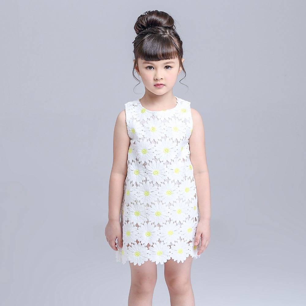 2016 brand kids sleeveless lace girls dress fashion girls clothes hot sale daisy girls dresses summer 2016(China (Mainland))