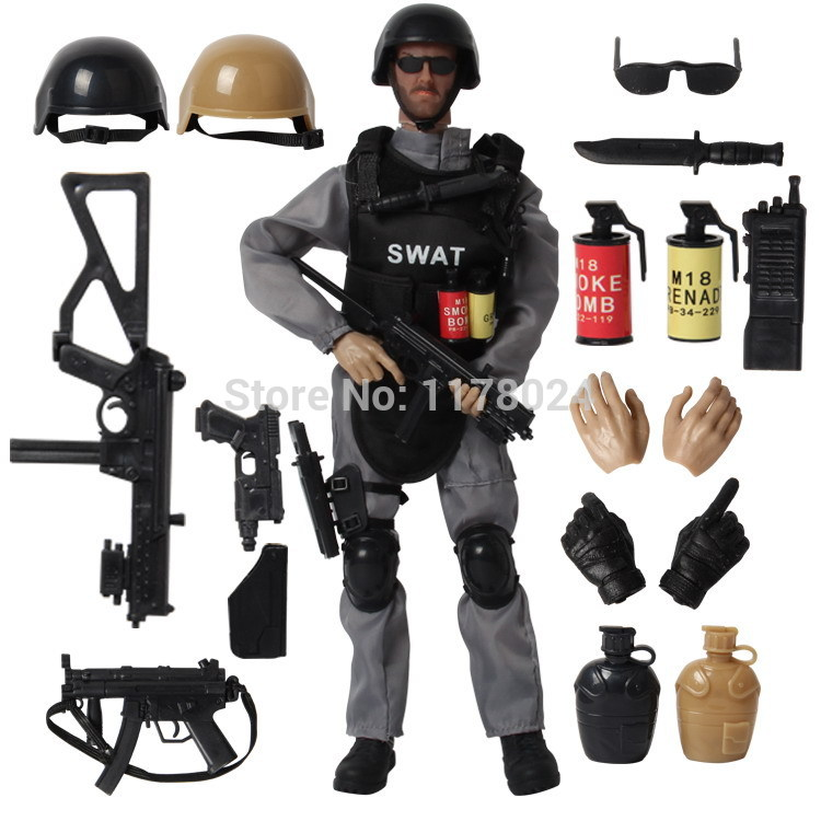 16PCS/SET Special Force Soldier Military Action Figure Dolls SWAT Soldier With Rifle Accessories Super System Kids Gifts Toys #F(China (Mainland))