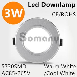 Longue durée de vie 3 W 4 pcs/lote cercle Led Down Light encastré acrylique panneau Luminaire pour éclairage intérieur chaud / blanc froid 5730SMD(China (Mainland))