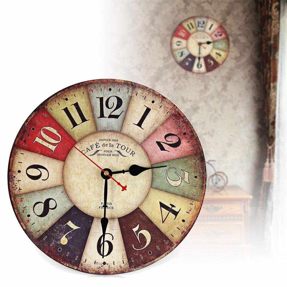 Antique Kitchen Wall Decor : Vintage wooden wall clock shabby chic rustic retro kitchen