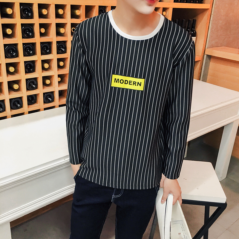 2016 Autumn Explosion Models New Men'S Long-Sleeved Striped T Shirt Printing Increase Code Fashion M-5XL A111(China (Mainland))