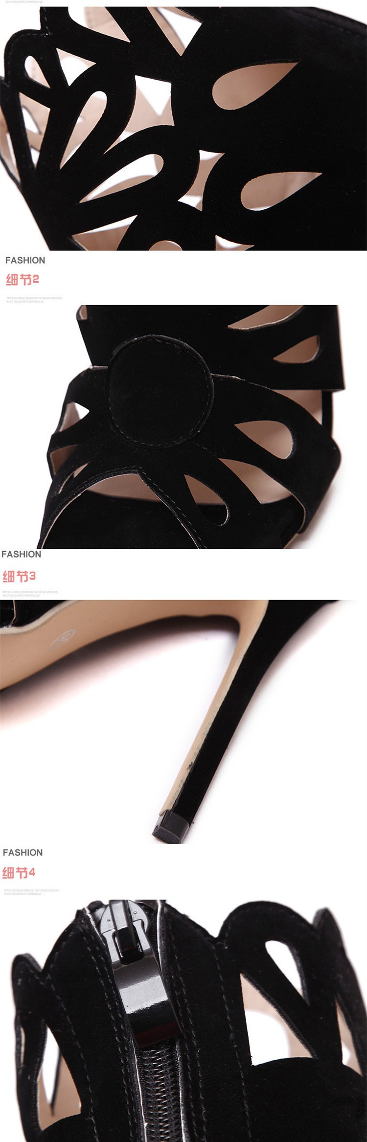 Size 4~9 Gladiator Summer Black Women Shoes 12cm Zipper Cut-Outs High Heels Shoes Women Pumps zapatos mujer (Check Foot Length)