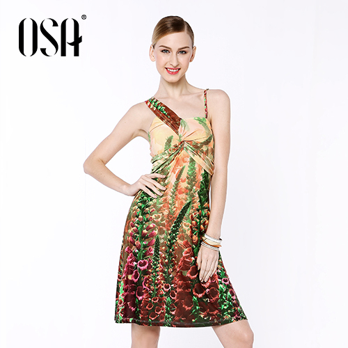 OSA 2015 New Arrivals Women Casual One Shoulder Dress Print Draped Empire Strapless Vestidos High Quality SL431138(China (Mainland))