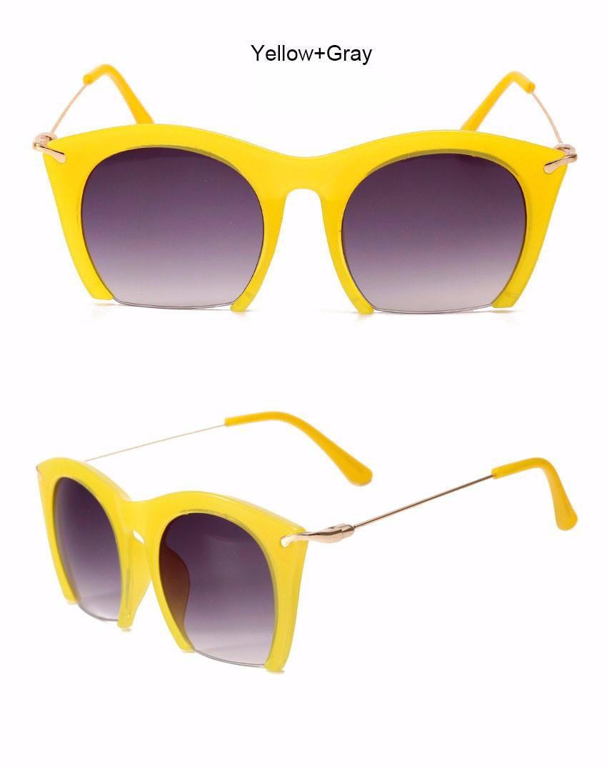 Half Frame Claasic Brand Designer Women Cat eye Sunglasses Italy Sun Glasses Fashion Lady Metal Frame Eyewear  Vintage