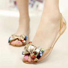 2015 New fashion melissa jelly shoes women flat sandals Transparent peep toe crystal women summer beach shoes woman L50(China (Mainland))