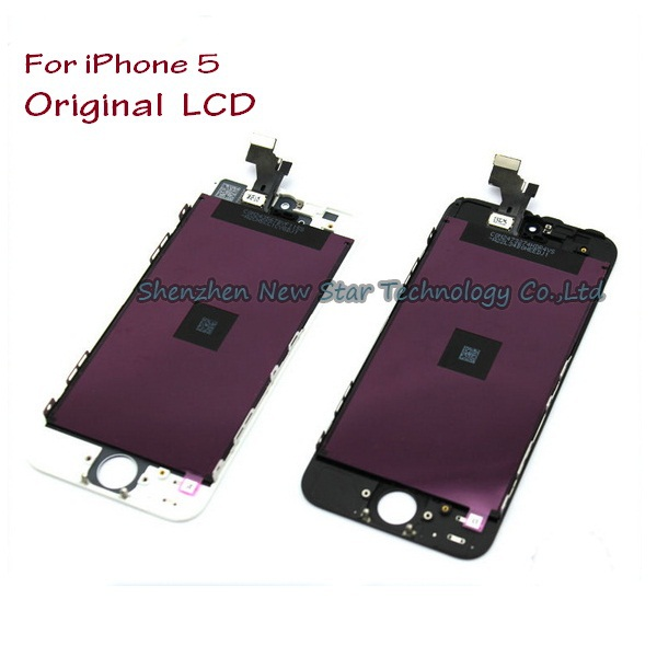 2pcs High-quality For iPhone 5 Original LCD Display Screen and Digitizer Touch Screen Glass Panel Assembly with Frame,Free ship(China (Mainland))