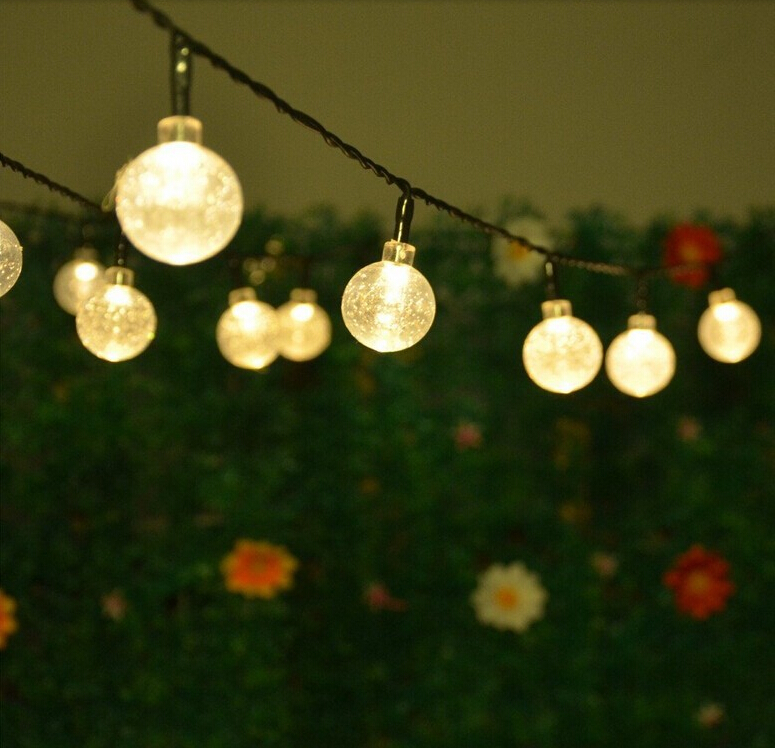 Solar Globe String Lights Outdoor : Solar Powered Led Outdoor String Lights 5M 20LEDs Crystal Ball Globe Fairy Strip Lights for ...