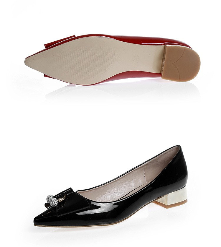 2016 new spring and summer diamond bow thick with low-heeled red shoes pointed Korean fashion female SUB875