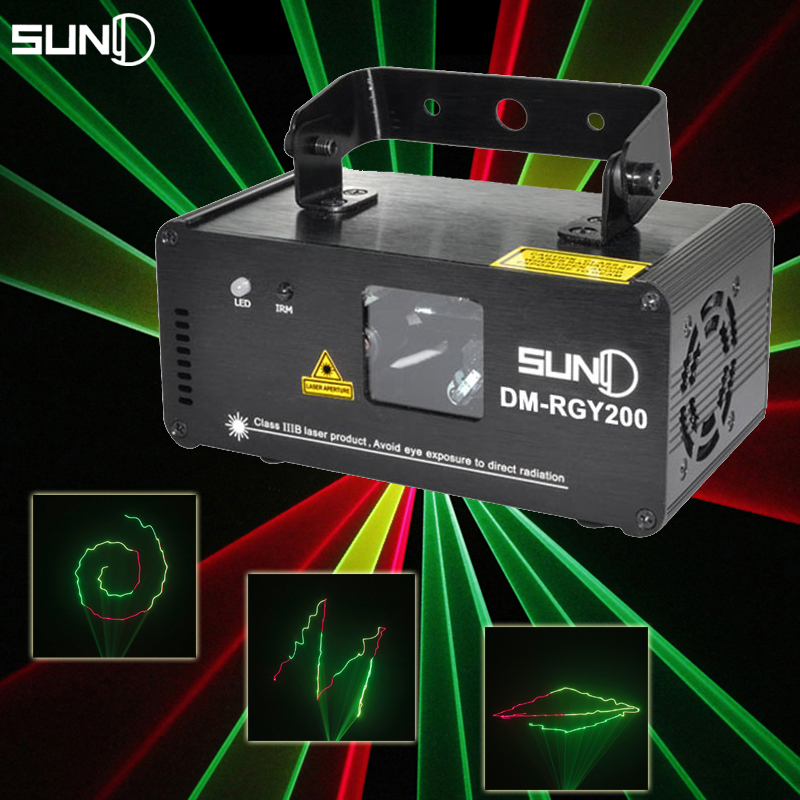 SUNY Remote DMX512 200mW RGY Laser Stage Lighting Scanner Effect Dance DJ Disco Party Show Light Xmas Projector Lights(China (Mainland))
