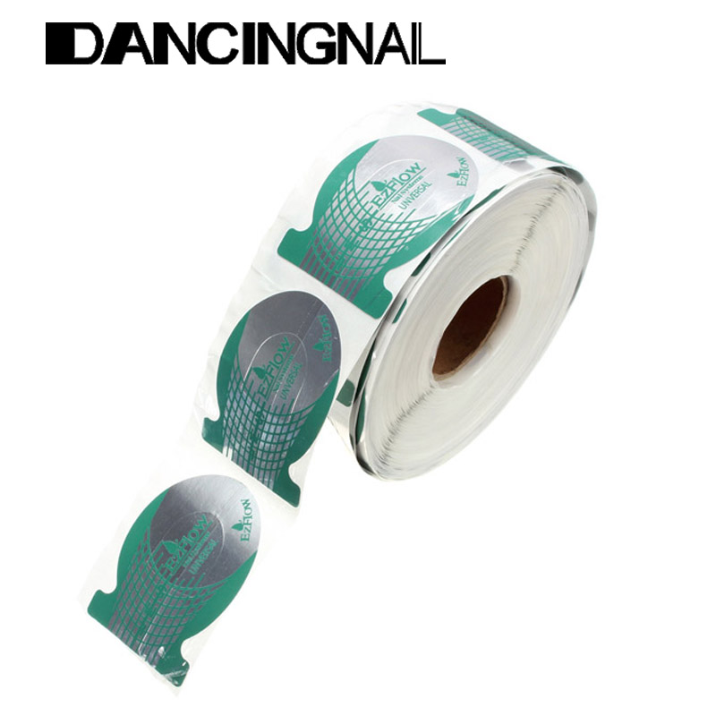 500pcs/roll Pro Green Horseshoe Shape Nail Art Tip Nails Extension Form Roll Acrylic Curve Gel Guide Stickers(China (Mainland))