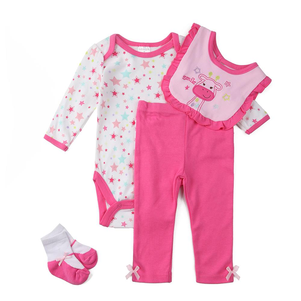 baby & kids Clothes sets infantis,Baby Gift Collection Baby girls bodysuits, pants, bib, socks baby clothing Set, 0-12 Months(China (Mainland))