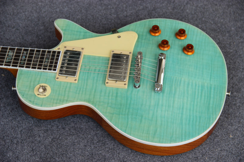 Wholesale LP Standard Light Green Tiger Flame Top with White Binding, Abalone Inlay Fret Binding Electric guitar(China (Mainland))