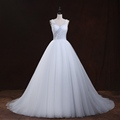 Ball Gown Zipper With Buttons robe de mariage Court Train Crystal Appliques Spaghetti Straps Plus Size