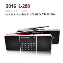 2016 L-288 Mini Portable Rechargeable Stereo FM Radio Speaker LCD Screen Support TF Card USB Disk MP3 Music Player Loudspeaker(China (Mainland))